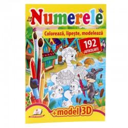 Numerele  - Coloreaza, lipeste, modeleaza + 192 autocolante +3D model