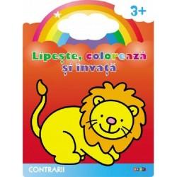 Contrarii. Leul – Lipeste, coloreaza si invata