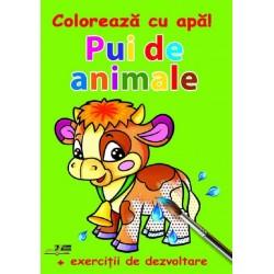 Pui de animale - Coloreaza cu apa! + Exercitii de dezvoltare