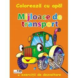 Mijloace de transport - Coloreaza cu apa! + Exercitii de dezvoltare