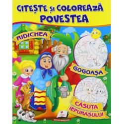 Ridichea - Gogoasa - Casuta iepurasului - Citeste si coloreaza povestea