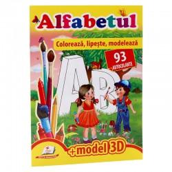 Alfabetul - Coloreaza, lipeste, modeleaza + 93 autocolante  +3D model