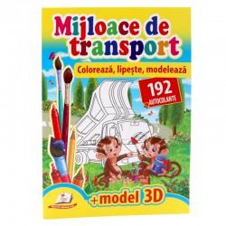 Mijloace de transport - Coloreaza, lipeste, modeleaza + 192 autocolante +3D model